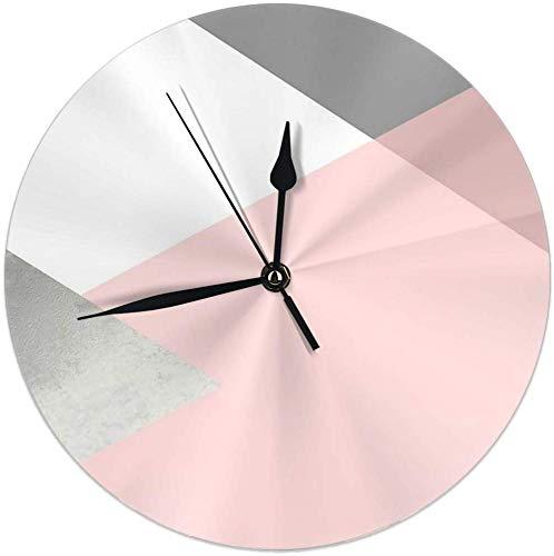 gardenia store Geometrics – Reloj de Pared Redondo de Color Gris y Plateado, 9,84 Pulgadas