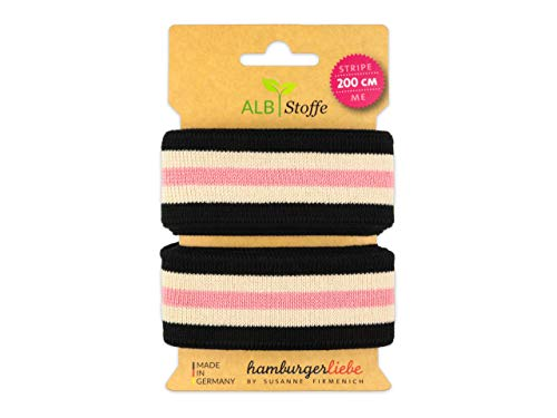 Albstoffe Stripe Me College Life Loves You Band nero...