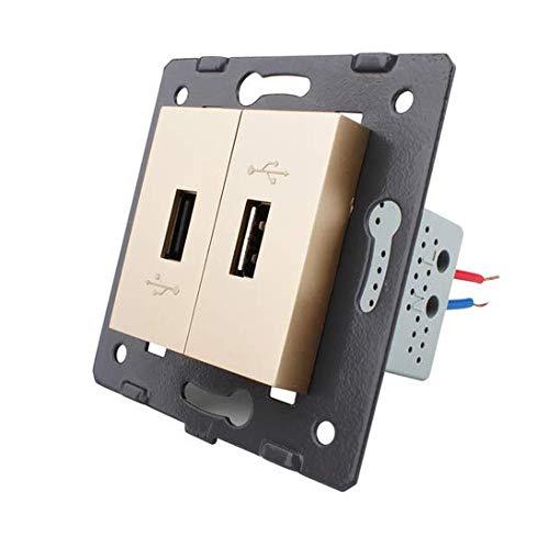 LIVOLO - Interruptor de luz táctil (2 puertos USB, 13), color dorado