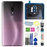 Battery Back Cover Rear Panel Glass with Camera Glass Lens/Flash Replacement for OnePlus 6T A6010 A6013 LTE 6.41' + Eject Pin Tools +C-Type Adapter (Purple)