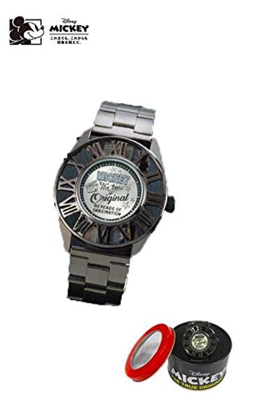 ミッキーマウス レリーフ 腕時計 専用BOX付き ディズニー 時計 ウォッチ グッズ ミッキー ブラック 90th