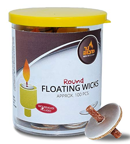 Round Floating Wicks - 100 Count (Approx.), Cotton Wicks and Cork Disc Holders for Oil Cups - Bonus Wick Removal Tweezers - by Ner Mitzvah