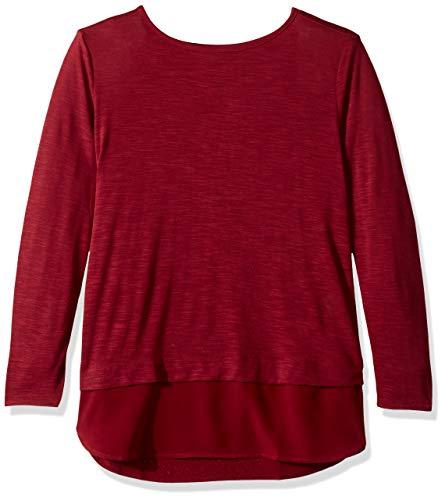 J.Crew Mercantile Damen Woven Hem T-Shirt Hemd, Windsor Burgund, XX-Small
