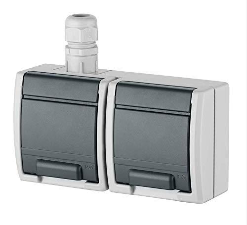 Naka24 Aufputz Schalter-Steckdosenprogramm Feuchtraum Schuko AQUANT (IP65 Steckdose 1245-65), Weiß