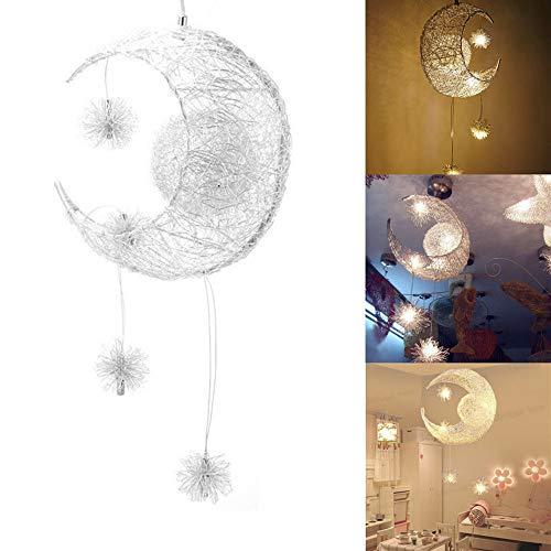 Sunsbell Creative Mond und die Sterne LED-Hängeleuchte Hängelampe Kinderzimmer Dekoration (Warmweiß)