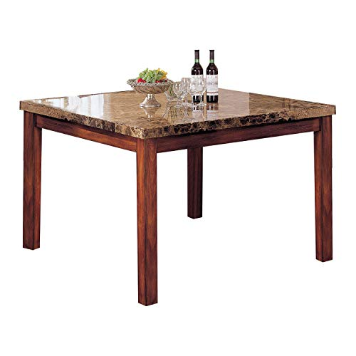 Acme Bologna Marble Top Counter Height Table, Brown