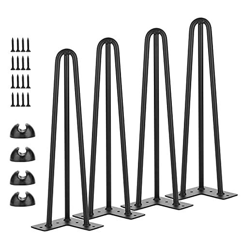 Simniam 4 patas de mesa Hairpin Leg, patas de mesa de escritorio, 12 mm de acero, 15 cm/3 varillas
