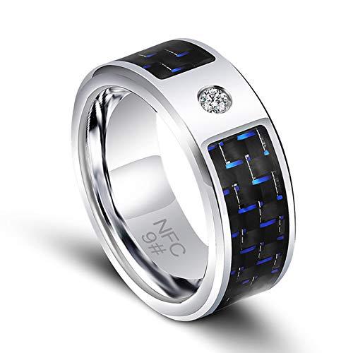 Anillos de los Hombres, la función NFC Realización de Fibra Electronic Data Sharing Timbre Inteligente usable de envío de Mensajes de teléfono aplicación de Bloqueo Carbono Azul para Windows,8