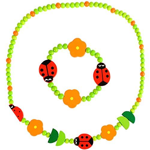 2 TLG. Set _ Kette + Armband -  Marienkäfer & Blumen  - aus Holz - Schmuck / Perlenkette - Bunte Holzperlen / Perlen - Kinderschmuck - Halskette - Kinderket..