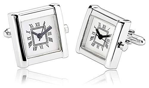 WJCRYPD Gemelos De Acero Inoxidable Gemelos De Acero Inoxidable Reloj De Hombre Gemelos Blancos Camisa Casual De Negocios Gemelos De Hombre Qf Shop