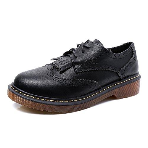 Smilun Smilun Damen Schnürschuhe Schuhe mit Schnur Business Arbeit Flach Glattleder Schwarz EU36