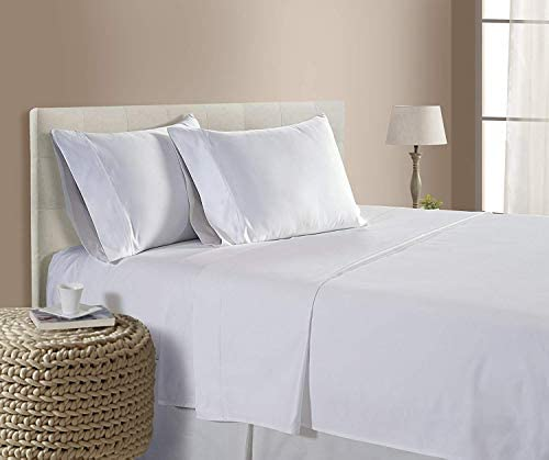 Queen Size Heavy 1500-TC Soft Egyptian Cotton Sheet Set for Queen Size (60×80) Fits 10-12 Inches Deep Pocket (Solid, White)