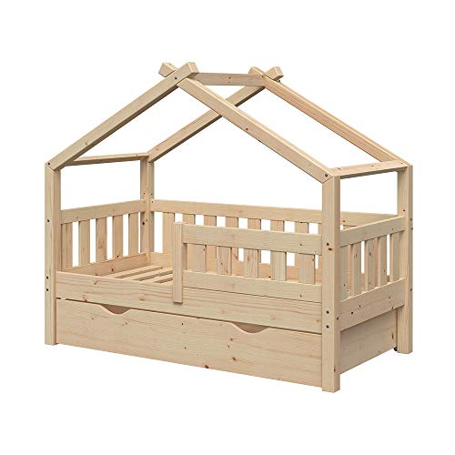VitaliSpa Design Kinderbett 140x70 Babybett Jugendbett mit Schublade Lattenrost (Natur)