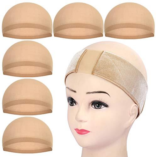 6 Stk. Haarnetz Nylon & Haarband für Perücke, FANDAMEI Wig Cap Perücke Kappen Unterziehhaube Dehnbare Elastische Stirnband Hellbraun