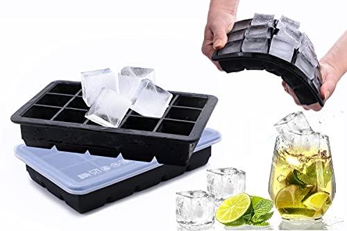 Eiswürfelformen mit Deckel aus Silikon,FDA Zertifiziert,15-Fach 0,5L 100% BPA Frei,Eiswürfelbehälter,Fruchteiswürfel Ice Clip Bier Cube,Süßigkeiten,Schokolade,Bars&Party (Schwarz 2 Stück)