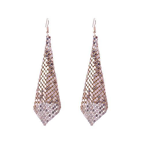 JY Novedad Joyas-Pendientes para mujer Pendientes Pendientes Pendientes de gota Oreja, metal Sequined Tassel Earrings Pendientes de personalidad simples europeos y americanos Oro, a