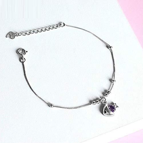Silber Armband Kristall Fisch Echt 925 Sterling Silber Armband Damenmode Schöne Schmuck Armband und Armband Mädchen Kind Geschenk