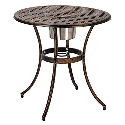 T-ara Suave y Confortable Estilo Europeo de Aluminio Fundido Fuera de 3 Piezas Patio Bistro Conjunto de Mesa y sillas con cubeta de Hielo Bronce diseño de Moda