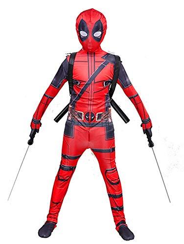 ZYYNET Deadpool Disfraz de Cosplay Mono Nios Escuela Gala Escenario Rendimiento Medias combinadas Adulto Halloween Navidad Fiesta de Cumpleaos Traje Traje Mscara Espada, Childs 136~145cm