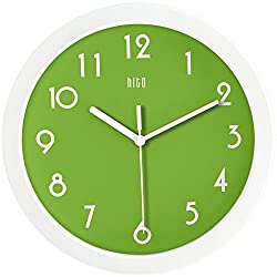 hito Silent Kids Wall Clock Non Ticking 10 inch Excellent Accurate Sweep Movement Glass Cover, Modern Decorative for Kitchen, Living Room, Bathroom, Bedroom, Office (Apple Green)