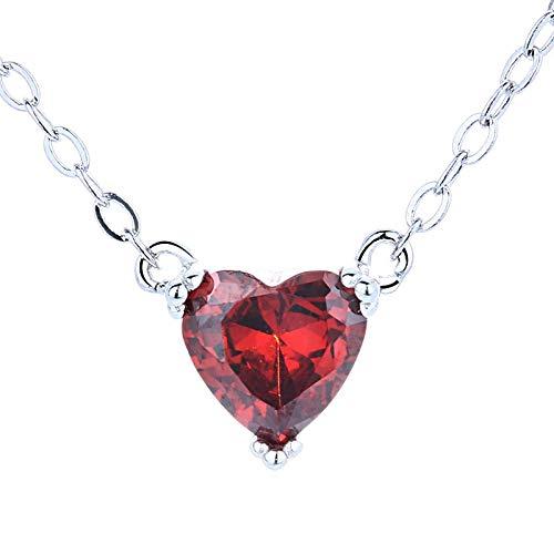 qwertyuio Collares para Mujer, Colgante De Corazón con Piedras Preciosas Naturales, Granate Rojo, Collar De Plata De Ley 925 Sólida, Regalo De Boda Fino para Novia