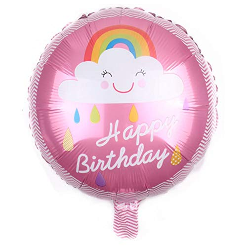 DIWULI, Geburtstags Luftballon Happy Birthday, Folien-Luftballon Wolke und Regenbogen, Geburtstagsballon, rosa Folien-Ballon für Geburtstag, Mädchen Kindergeburtstag Party, Dekoration, Geschenk-Deko