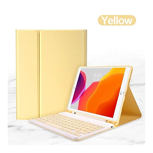 FKYNB For el Teclado de Bluetooth del iPad Caso del ratón for Air iPad 1 2 3 Pro 9.7 10.5 11 10.2 2017/2018/2019 séptimo Quinto Sexto Cubierta Generación (Color : Yellow, Size : For iPad Pro 10.5)