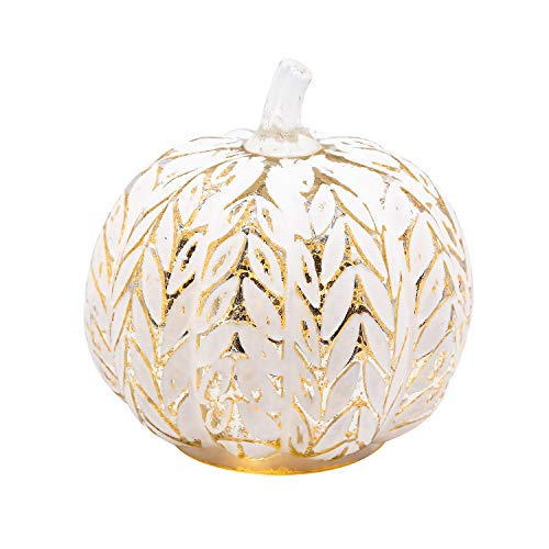 simpdecor Mercury Glass Pumpkin Light con Temporizador para Decoraciones de Calabaza de Halloween Decoración de otoño, Hojas de Plata, 6''
