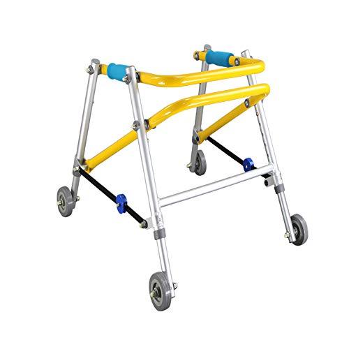 XJZHAN Unabhängiges Gehen Mobiler Kinder-Rollator mit 4 Rädern, Aluminium, zusammenklappbar, höhenverstellbar