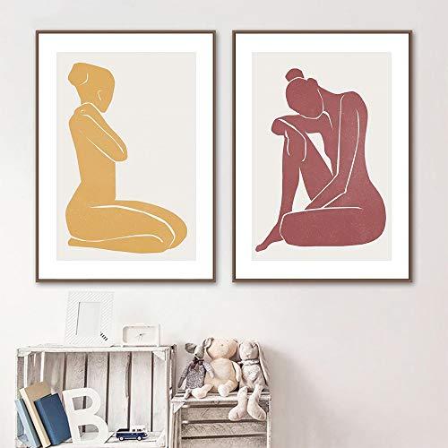 KWzEQ Gelbe und rote abstrakte Frauenkörperkunst-Leinwandplakate und -drucke für Wohnzimmerdekoration,80X120cmx2,Rahmenlose Malerei