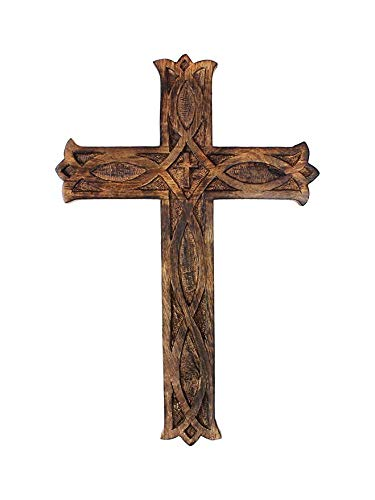 S.B.ARTS Wooden Wall Cross Catholic Handcrafted Plaque 8 inches Small Hanging Wall Crucifix with Hand Carvings Hanging Cross for Wall Decor