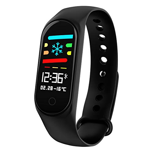 kkcite Fitness Tracker KKCITE Wrist Activity Trackers Waterproof IP67 Smart Bracelet with Heart Rate Pedometer Calories Sleep Monitor Bracelet Mobile for Android and iOS (Black)