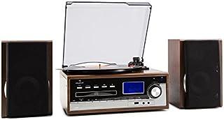 Auna Deerwood Equipo estéreo con Tocadiscos - Multimedia, máx. 45 RPM, Altavoces, FM, USB, MP3, Digitalización, Reproducto...