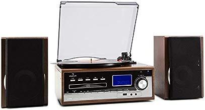 Auna Deerwood Equipo estéreo con Tocadiscos - Multimedia , máx. 45 RPM , Altavoces , FM , USB , MP3 , Digitalización , Reproductor CD , Pletina Cassette , AUX , Negro Plateado