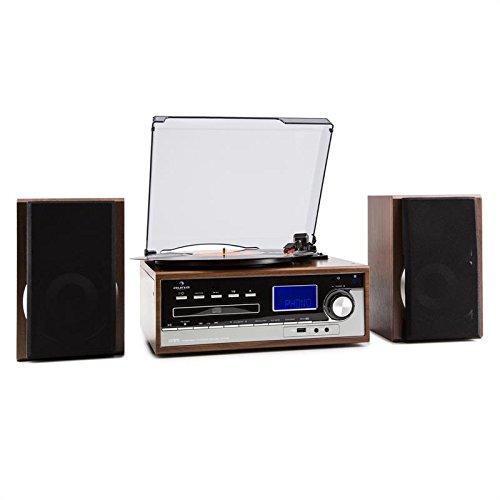 auna Deerwood minicadena con tocadiscos (USB, MP3, reproductor CD y casete, AUX, radio FM, altavoces bassreflex de 2 vías) - madera