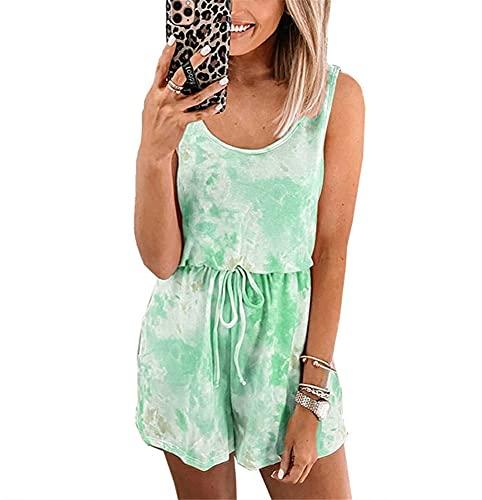 Tank Tops Jumpsuit Mujer Summer Fashion Casual Cuello Redondo Chaleco Cintura Pantalones Cortos Traje De Dos Piezas Elegante Dulce Color Degradado Suelto Cómodo Mono Mujer D-Green L