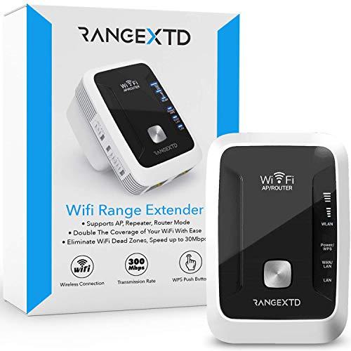 RANGEXTD WiFi Range Extender - WiFi Booster to Extend Range of WiFi Internet Connection | WiFi Signal Booster for Up to 10 Devices | Internet Booster & WiFi Repeater | Speed 300 Mbps | 2.4 GHz Band