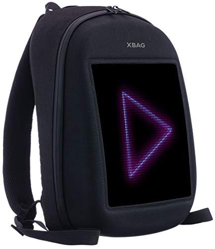 XBAG LED-Rucksack, personalisierbar, Hartschalenetui, Laptop-Rucksack mit programmierbarem Bildschirm, digital, Smart Model One (schwarz)
