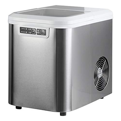 WOLTU EM01sb Eiswürfelmaschine Eiswürfelbereiter, 15kg/24hrs, 2 Eiswürfel-Größen, 2,2 Liter Wassertank, Selbstreinigungsfunktion, Eismaschine Leise Ice Maker ABS, Silber