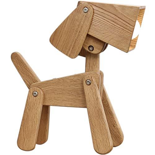 Lámpara de mesa de madera con forma de perro, regulable, para mesita de noche, cálida, para comedor, regalo para niños, niñas, salón, dormitorio (roble blanco)