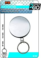 (1) - HY-KO PROD Chrome Key Reel with 120cm Retractable Wire Cable (KC188)
