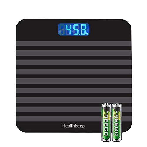 Báscula de Baño Digital, Báscula Inteligente de Alta Medición Precisa 180kg/ 400lbs/ 28st, con Tecnología Step-On, Vidrio Templado de 5mm, Gran Pantalla LCD Retroiluminada