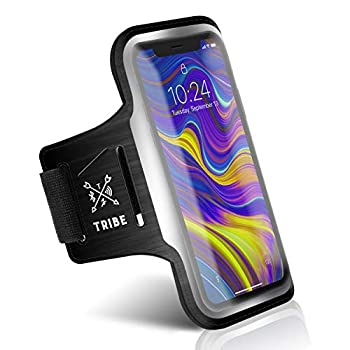 TRIBE Running Phone Holder Armband iPhone & Galaxy Cell Phone Sports Arm Bands for Women Men Runners Jogging Walking Exercise & Gym Workout Fits All Smartphones Adjustable Strap CC/Key Pocket