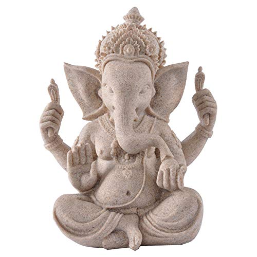 ZYBZYH Ganesha Buddha Statue Garten Deko Figur Haus Skulptur Elefanten Sandstein Ornament klein