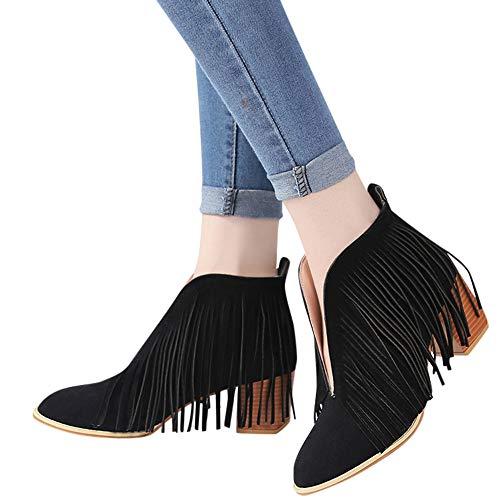 OSYARD Damen Quaste Ankle Stiefeletten V-Öffnung Fransen Wildleder Low-Top Boots Frauen Schuhe Mode...