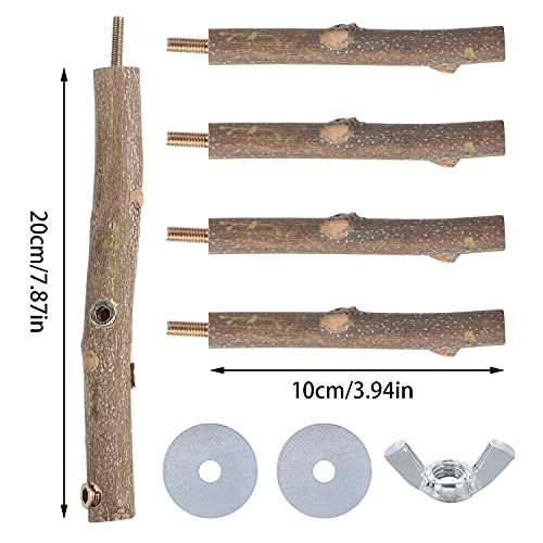 X-NOMIY Natural Wood Bird Perch Stand Toy,Parrot Perch Branch for 3-4pcs Small Medium Birds for Small Parakeets, Finches, Budgie, Macaws,Cockatiel, Lovebirds