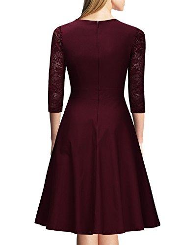 Miusol? Damen Abendkleid Elegant Cocktailkleid Vintage Kleider 3/4 Arm mit Spitzen Knielang Party Kleid Weinrot Gr.M - 2