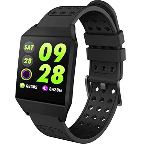 Yumanluo Smartwatch,Paso de Bluetooth de monitoreo de frecuencia cardíaca de 1.3 Pulgadas, Pulsera Inteligente Deportiva-Negra,Reloj Inteligente con Pulsómetro