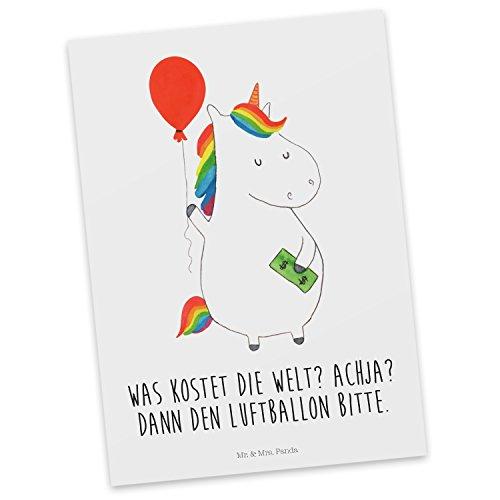 Mr. & Mrs. Panda Einladung, Karte, Postkarte Einhorn Luftballon mit Spruch - Farbe Weiß