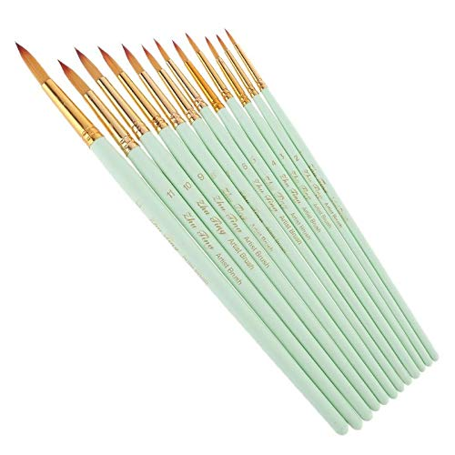 Juego de pinceles de pintura de detalle de artista fino de 12 piezas, pinceles de pintura de punta puntiaguda, herramientas de dibujo de acuarela de nailon para artistas
